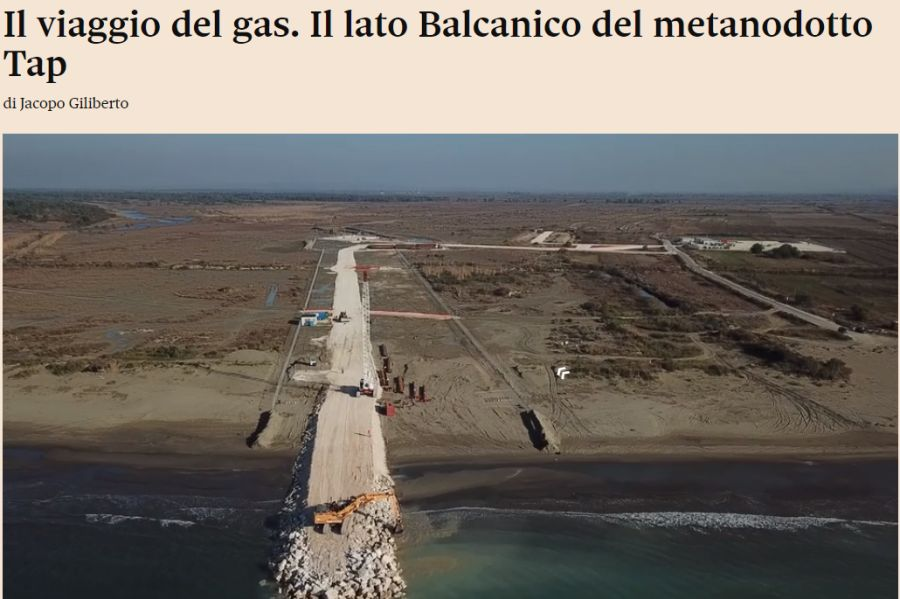 "An article on the Tap pipeline from ""Sole 24 Ore"""